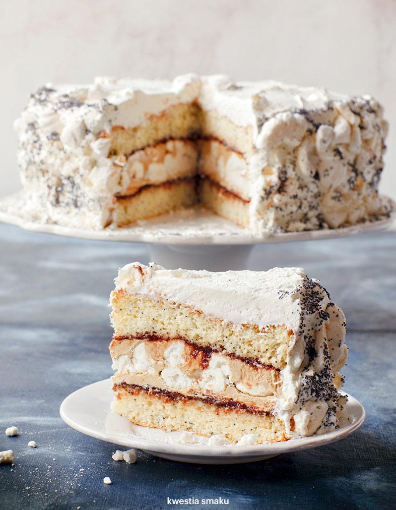 Tort makowo-bezowy z kremem kawowym na różne okazje