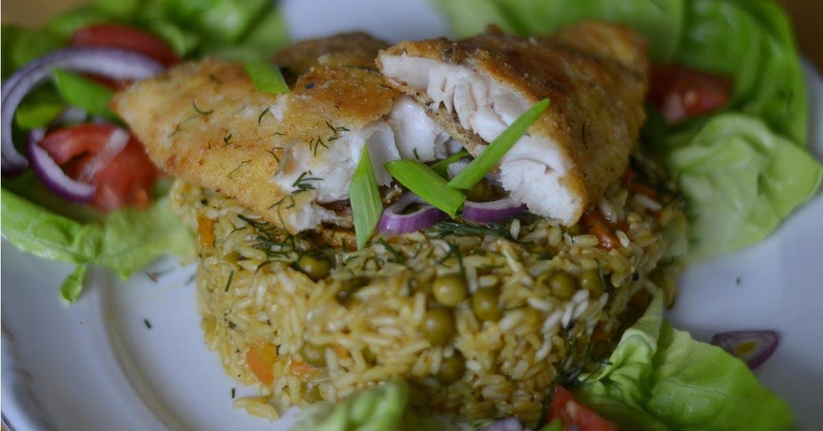 Dorsz z ryżem i warzywami