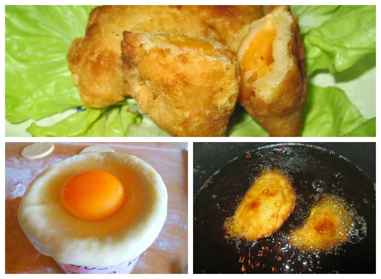 Pierożki greckie z jajkiem smażone na głębokim tłuszczu
