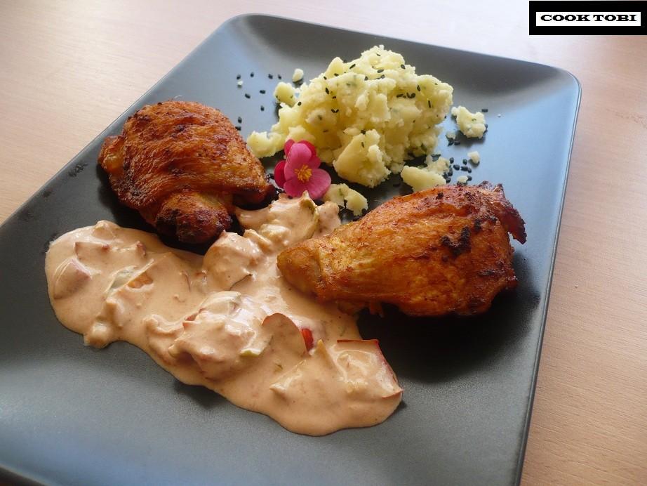 Pieczone udka z kurczaka w białym sosie ze świeżego chilli