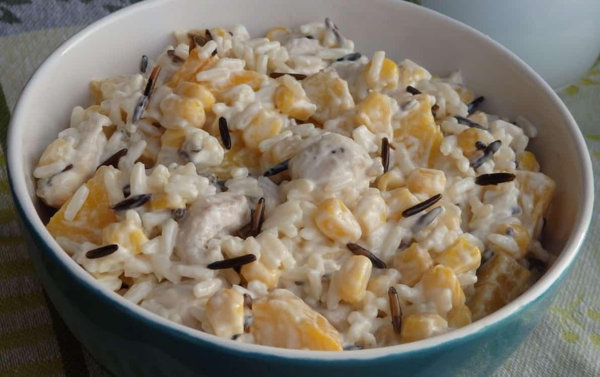 Salatka Ryzowa Z Kurczakiem I Brzoskwiniami Dompelenpomyslow Pl