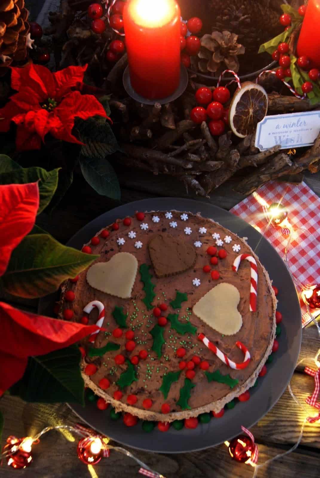 Marcepanowy, świąteczny torcik czekoladowy