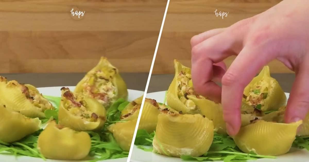Pomysł na pyszny obiad – muszle z makaronu z boczkiem i porem