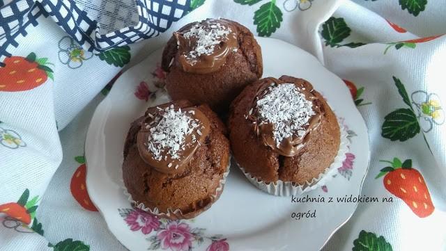 Muffinki czekoladowo kokosowe. Szybkie babeczki bez miksera.