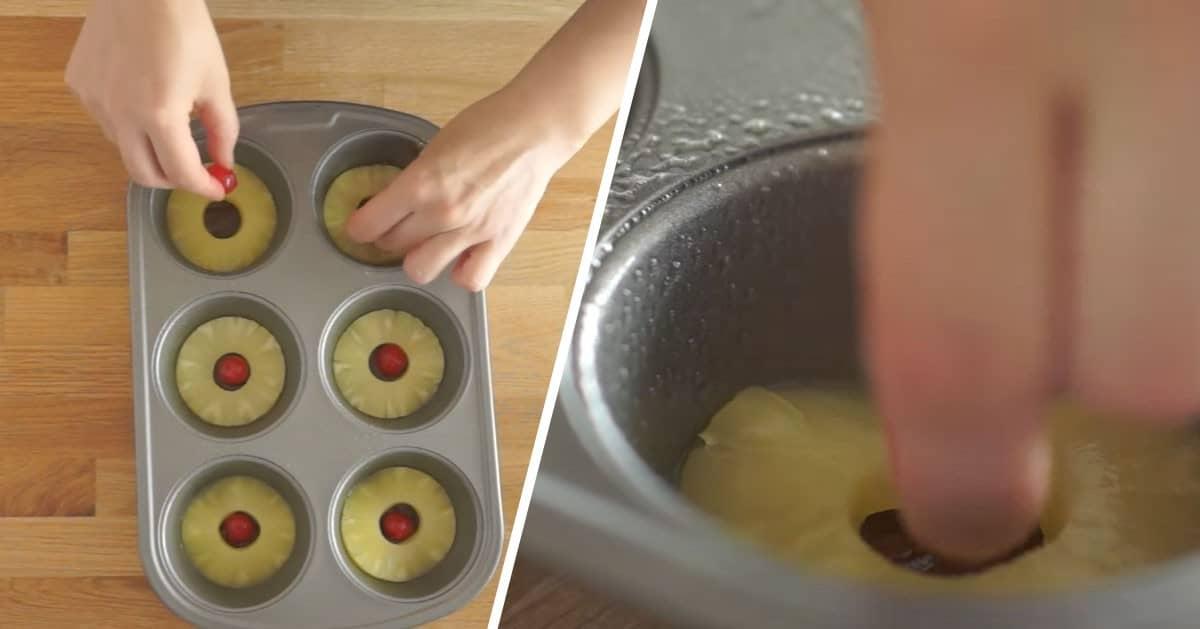 Plasterki ananasa włożyła do foremki na babeczki. Będziesz chciała zrobić tę przekąskę!