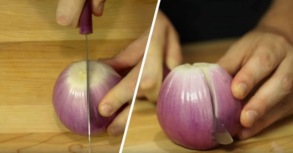 Wystarczy, że natniesz cebulę w ten sam sposób i zrobisz genialną dekorację do obiadu!