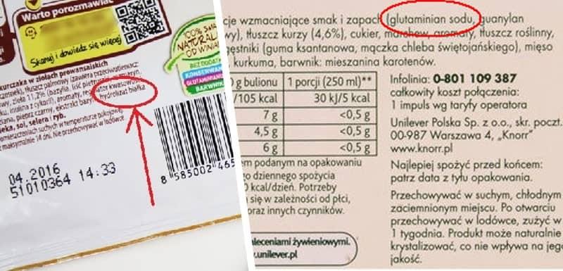 Jak producenci ukrywają glutaminian sodu w składzie produktu?