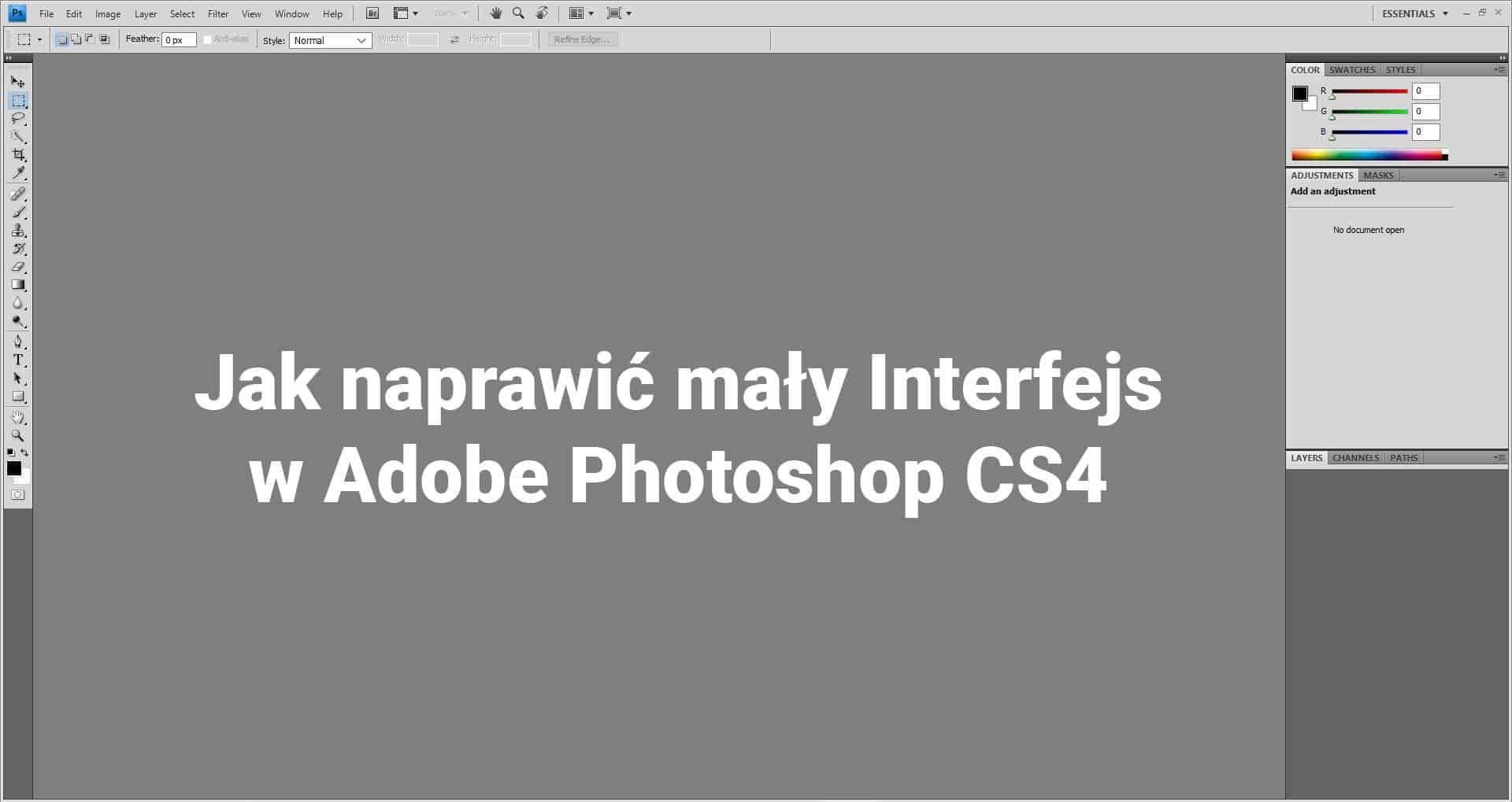 Jak naprawić mały interfejs w Adobe Photoshop