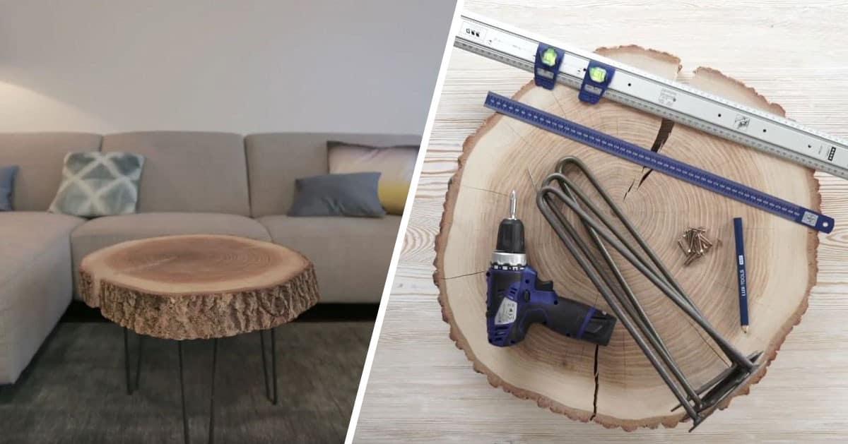 Stolik kawowy do salonu z plastrów drewna – zobacz jak go zrobić!