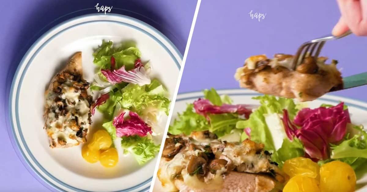 DomPelenPomyslow.pl Pomysł na szybkiego kurczaka z pieczarkami i serem