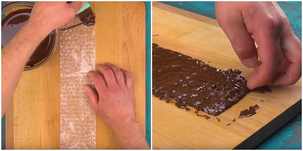 Świetny przepis, posmaruj folię bąbelkową czekoladą i zrób to co on :)