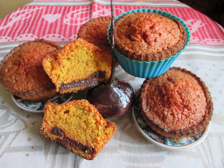 Buraczane muffinki z czekoladowym nadzieniem