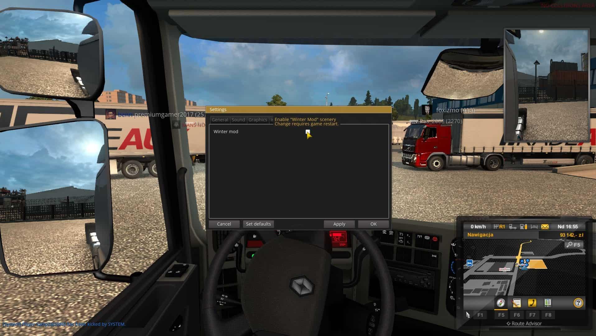 TruckersMP Winter Mod wyłączony, ale pada śnieg  Jak