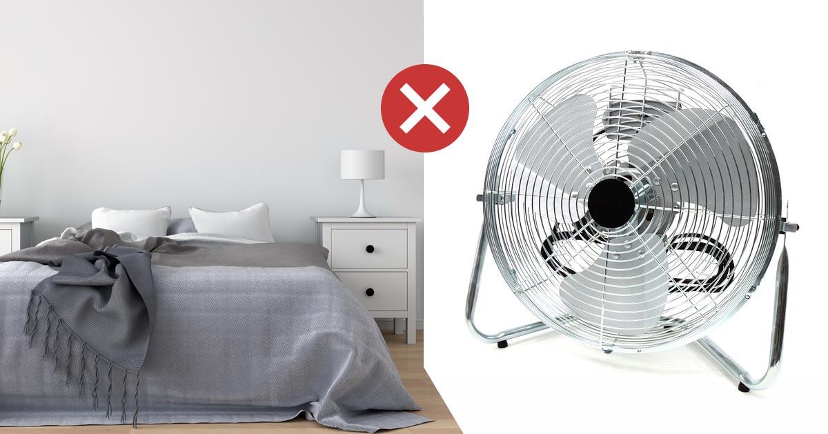 Nie korzystaj z wentylatora w sypiali