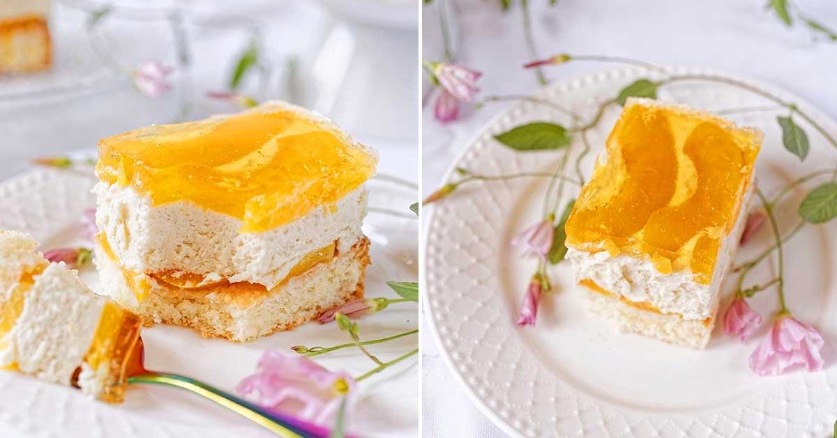 Ciasto chałwowe z brzoskwiniami