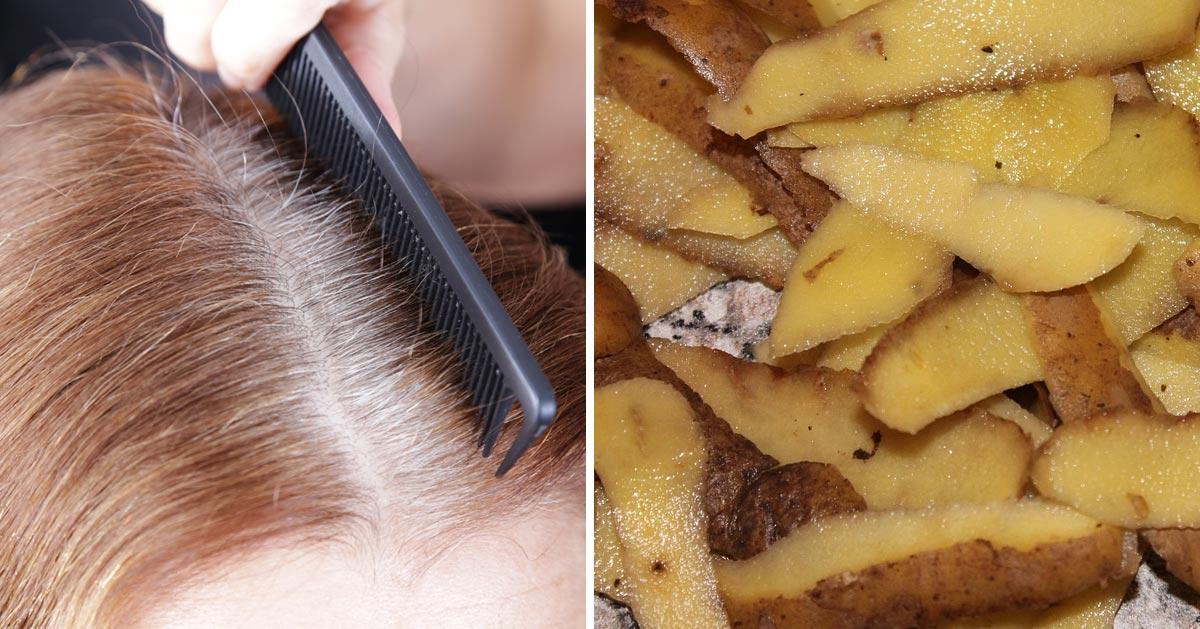 Zobacz jak poradzić sobie z siwymi włosami wykorzystując do tego obierki z ziemniaków