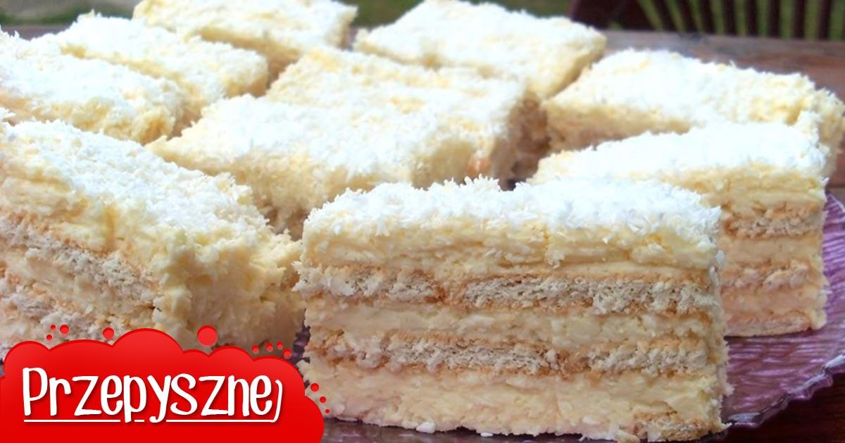 Przepis na szybkie ciasto Rafaello bez pieczenia – na herbatnikach!