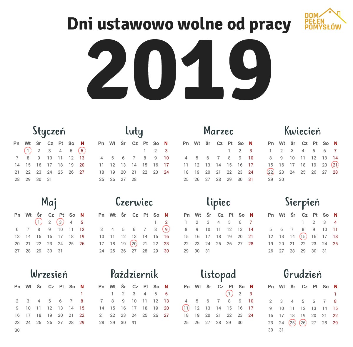 dni wolne w 2019 roku