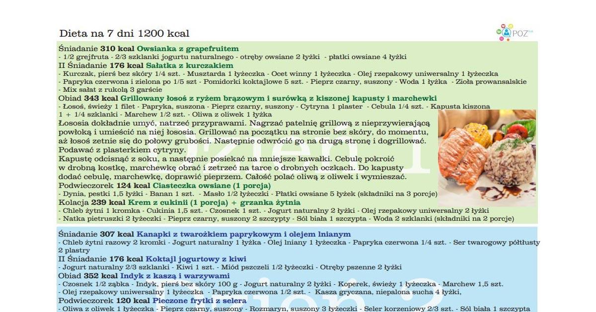 Dieta 1200 Kcal Na 7 Dni Od Nfz Chcesz Ja Wyprobowac