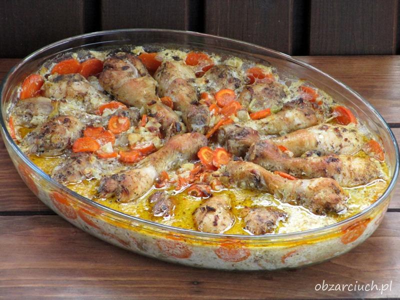 Podudzia pieczone w marchewce