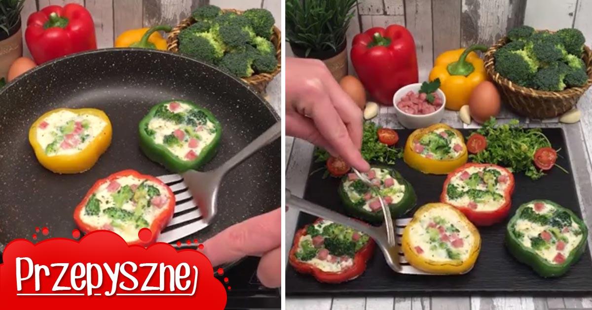 Brokułowy omlet w papryce, pomysł na śniadanie!