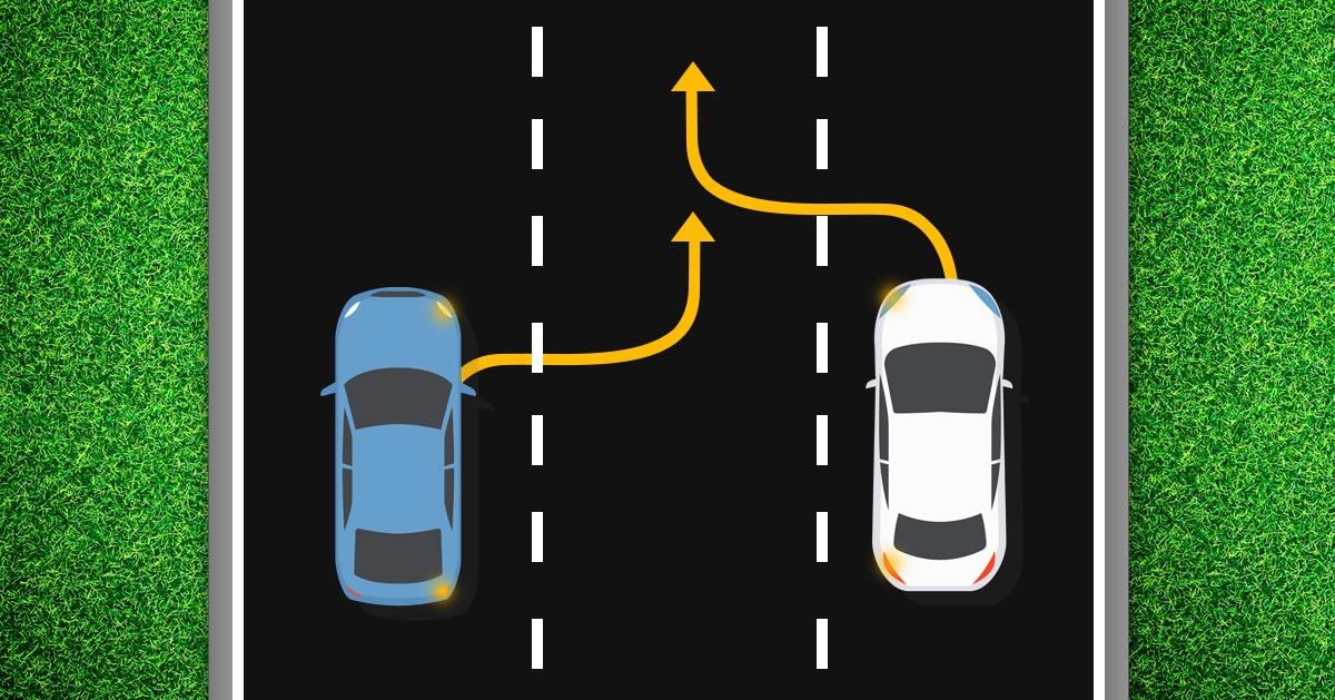 Dwa auta jednocześnie chcą zmienić pas na środkowy – kto ma pierwszeństwo?