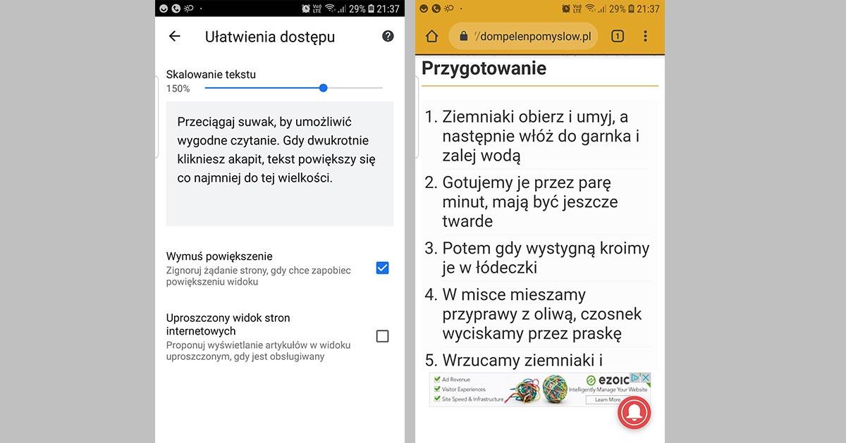 Jak zwiększyć rozmiar czcionki w Google Chrome na Androidzie