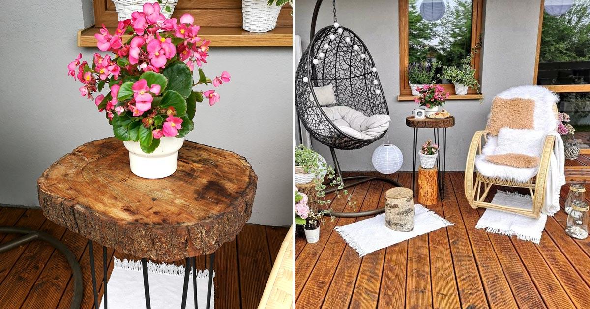 Stolik z plastra drewna DIY