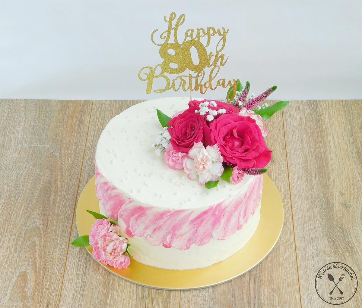 Tort waniliowo-malinowy
