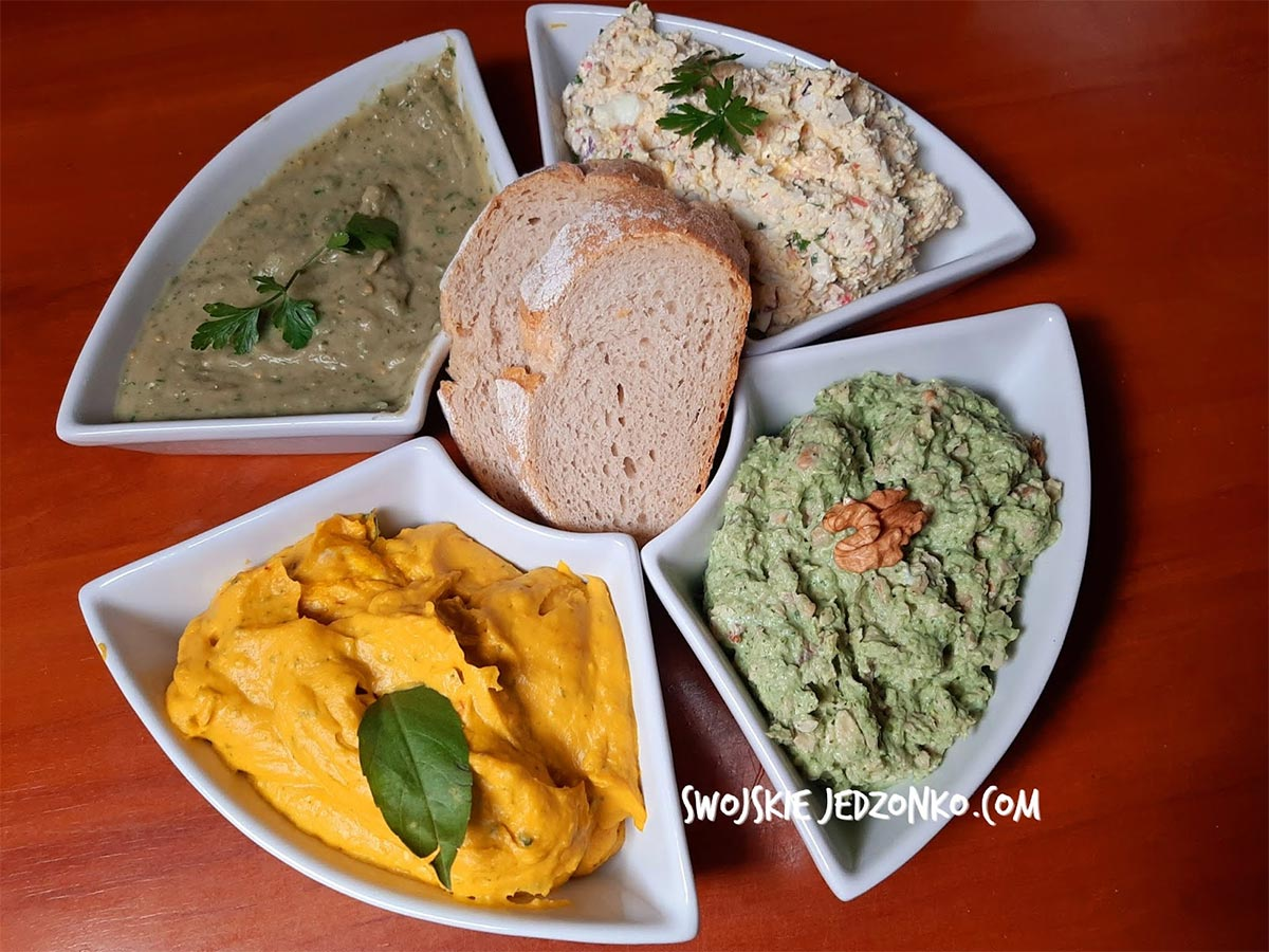 Pasty kanapkowe bez mięsa -4 rodzaje