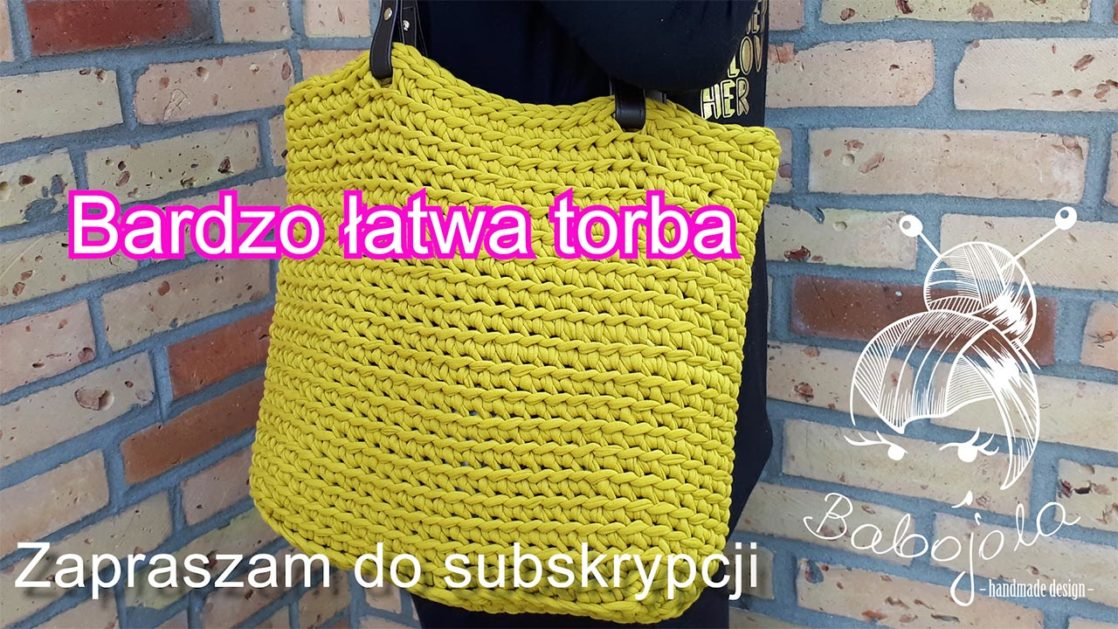 Limonkowa torba na szydełku