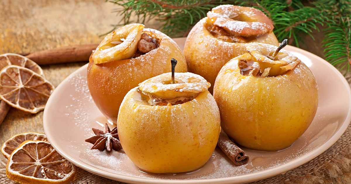 Przepis na pieczone jabłka z miodem i orzechami