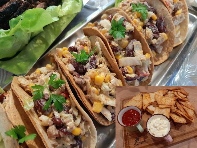 Tacos z sałątką meksykańską i domowe nachosy